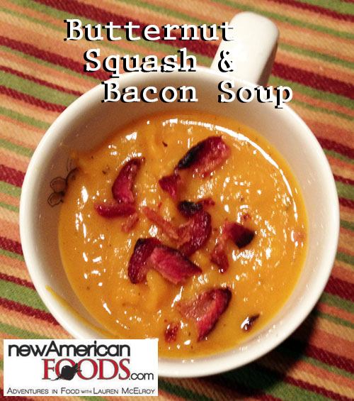butternut squash and bacon soup in a cup
